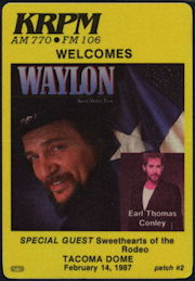 ##MUSICBP0416 - Waylon Jennings Cloth Backstage Pass from the Concert at the Tacoma Dome in 1987