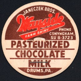 #DC195 - Janeczek Bros. Wayside Dairy Chocolate Milk Bottle Cap