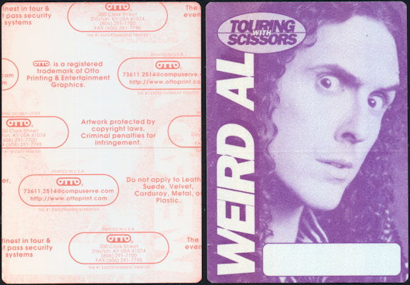 ##MUSICBP0457 - Weird Al OTTO Cloth Backstage Pass from the 1999 Touring with Scissors Tour