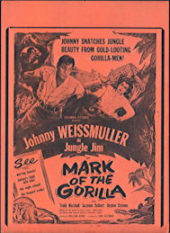 #CH326-30  - Johnny Weissmuller as Jungle Jim in Mark of the Gorilla Poster/Broadside