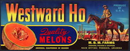 #ZLCA*064 - Scarce Westward Ho Melons Crate Label - Pioneer