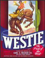 #ZLC267 - Westie Selected Vegetable Crate Label with Cowboy and Bucking Bronco