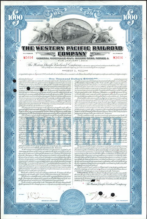 #ZZCE086 - The Western Pacific Railroad Company 4 1/2% Mortgage Bond Certificate