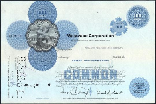 #ZZCE072 - Westvaco Corporation Stock Certificate