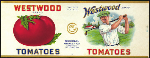 #ZLCA198 - Rare Westwood Tomatoes Can Label - Golfer