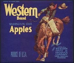 #ZLC394 - Rare Western Brand Washington State Apples Crate Label - Cowboy - Blue