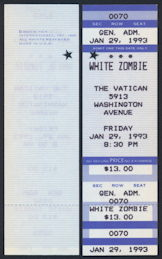 ##MUSICBPT0001  - White Zombie (Rob Zombie) Concert Ticket from The Vatican in Houston, TX