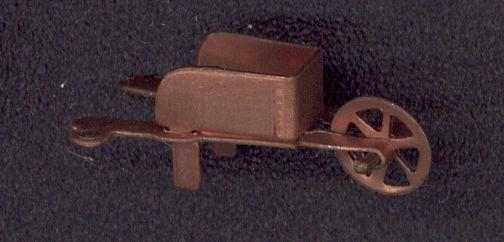 #BEADSC0247 - Copper Plated Wheelbarrow Charm with Charm Loop