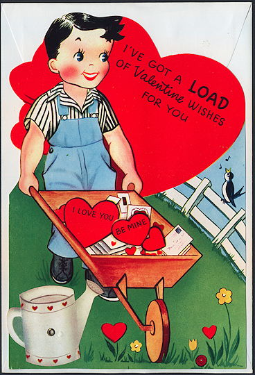 #HH100 - Large Diecut Mechanical Valentine with Boy and Wheelbarrow with Envelope