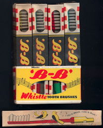 #CS375 - Display Sleeve with 12 Wrapped Tooth Brushes That Whistle