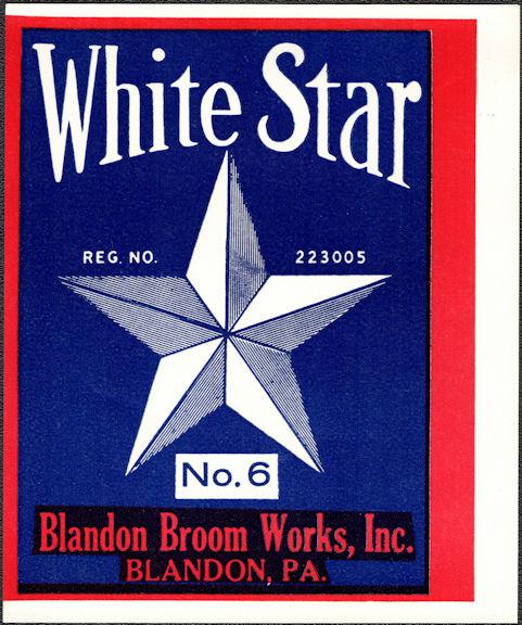 #ZLB055 - White Star Broom Label - Blandon Broom Works Blandon, PA