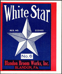 #ZLB055 - White Star Broom Label - Blandon Broom Works Blandon, PA