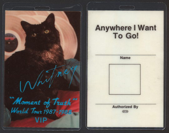 ##MUSICBP0190 - Rare Whitney Houston Laminated OTTO Backstage Pass from the 1987/88 Moment of Truth Tour - as low as $7.50 each