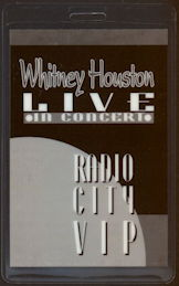 ##MUSICBP0397 - Whitney Houston Laminated Backstage Pass from Radio City on the Bodyguard Tour