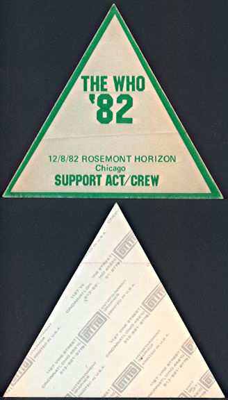 ##MUSICBP0318  - 1982 The Who Support Act/Crew OTTO Backstage Pass from One of Several Cities