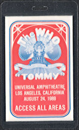 ##MUSICBP0597  - Laminated 1989 The Who Tommy OTTO Laminated Backstage Pass