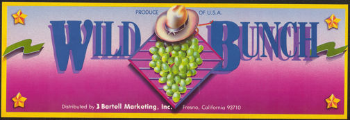 #ZLSG059 - Wild Bunch Grape Crate Label - Cowboy Hat