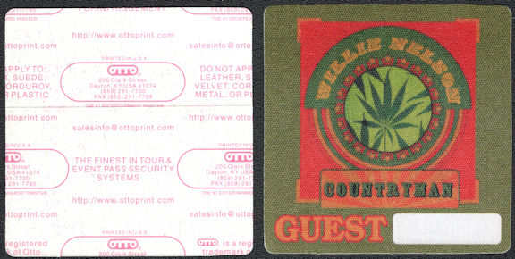 ##MUSICBP0598 - Rare Willie Nelson OTTO CLoth Backstage Pass from the Countryman Tour in 2005 - Pot Leaf