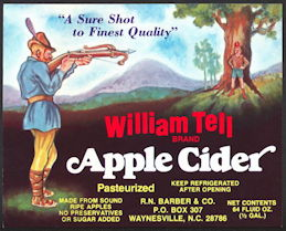 #ZBOT418 - William Tell Apple Cider Bottle Label