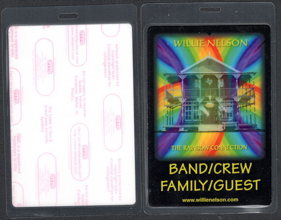 ##MUSICBP0637  - Uncommon Oversized Willie Nelson OTTO Laminated Backstage Pass from The Rainbow Connection Tour