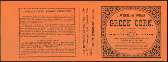 #ZLCA227 - Very Old J. Winslow Jones Green Corn Can Label