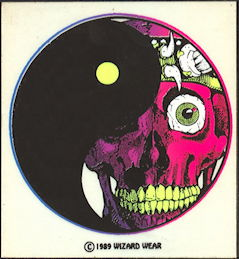 ##MUSICBP2008 - Grateful Dead Tour Sticker/Decal - Blacklight Wizard Wear Skull Staring out from Behind a Yin Yang