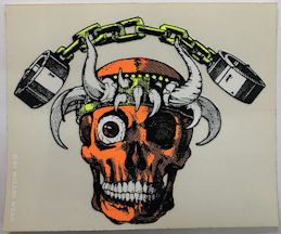 ##MUSICBP2039 - Grateful Dead Tour Sticker/Decal - Blacklight Wizard Wear Skull with Horns and Chains