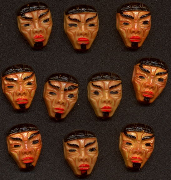 #BEADS0858 - Group of 10 13mm Hand Painted Tribal Mask Cabochons