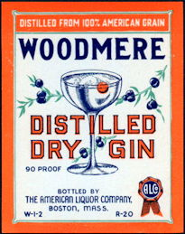 #ZLW162 - Woodmere Distilled Dry Gin Bottle Label
