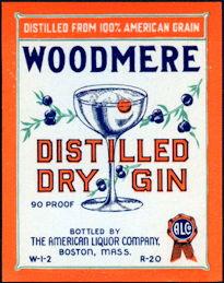 #ZLW162 - Woodmere Distilled Dry Gin Bottle Label
