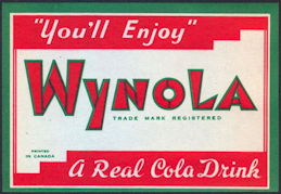 #ZLS204 - Wynola Cola Soda Bottle Label - As Low as 15¢ each