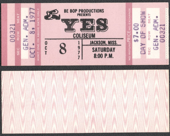 ##MUSICBP0742 - 1977 YES Ticket from Jackson, Mississippi