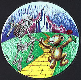 ##MUSICBP2000 - Grateful Dead Car Window Tour Sticker/Decal - Bear and Skeleton on the Yellow Brick Road