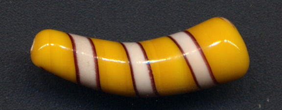 #BEADS0802 - Very Rare and Very Large Japanese Glass Horn Bead - Yellow