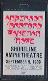 ##MUSICBP0324  - YES Laminated Access All Areas OTTO Backstage pass from the Concert at Shoreline Amphitheatre