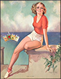 "#MS309 - Large ""Accent on Youth"" Pinup Advertising Calendar for Cigarette Brands - Signed Bradshaw Crandell"