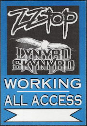 ##MUSICBP0510 - ZZ Top/Lynyrd Skynyrd PERRi Cloth Backstage Pass from the Rebels and Bandoleros Tour