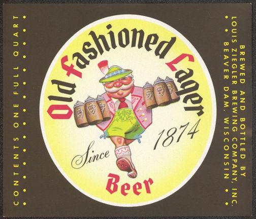 Large Ziegler Old Fashioned Lager Beer Quart Bottle Label
