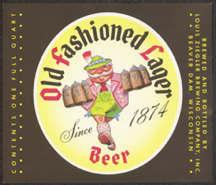 #ZLBE063 - Large Ziegler Old Fashioned Lager Beer Quart Bottle Label