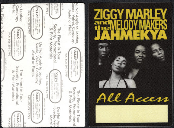 ##MUSICBP0641 - Ziggy Marley and the Melody Makers OTTO Cloth Backstage All Access Pass from the 1991 JAHMEKYA Tour