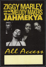 ##MUSICBP0641 - Ziggy Marley and the Melody Makers OTTO Cloth Backstage Pass from the 1991 JAHMEKYA Tour