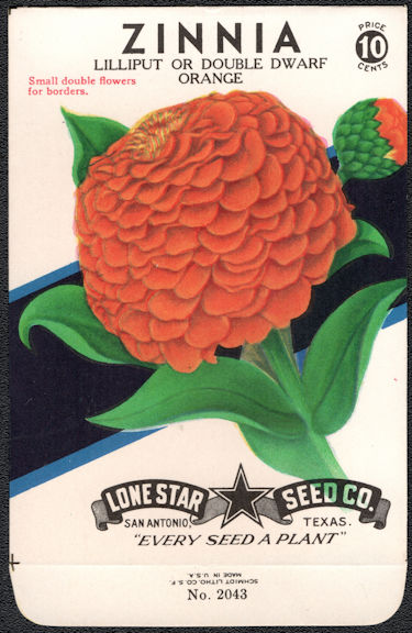 #CE048 - Lilliput/Double Dwarf Orange Zinnia Lone Star 10¢ Seed Pack - As Low As 50¢ each
