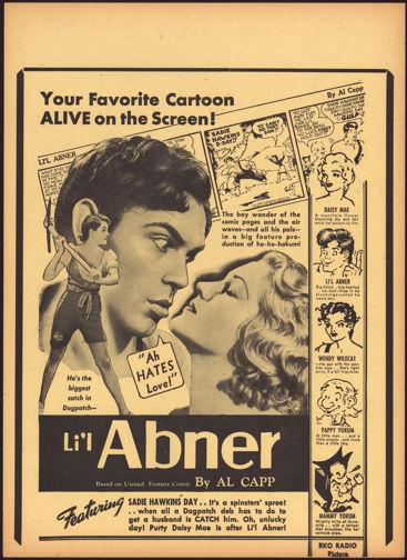 #CH326-02  - Rare 1940 Li'l Abner Movie Poster Broadside Picturing the Comic Strip