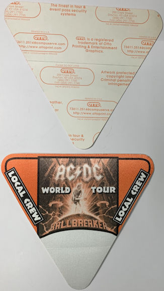 ##MUSICBP0758 - AC/DC OTTO Cloth Backstage Local Crew Pass from the 1996 Ballbreaker World Tour