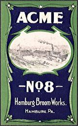 #ZLB054 - Rare Acme No. 8 Broom Label - Hamburg Broom Works