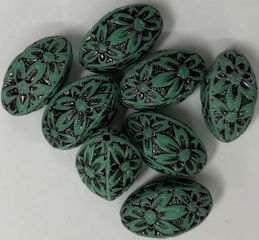 #BEADS0166 - Acrylic 18mm Green and Black Flower Power Bead