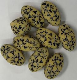 #BEADS0165 - Acrylic 18mm Yellow and Black Flower Power Bead