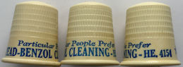 #MS244 Group of 3 Read-Benzol Cleaning Company Celluloid Advertising Thimble