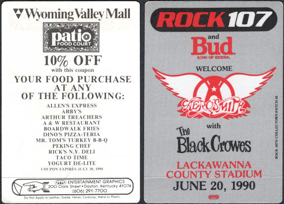 ##MUSICBP0774  - Group of 3 Aerosmith with Black Crowes OTTO Cloth Backstage Radio Patches for the Concert at Lackawanna Stadium in 1990