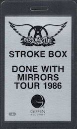 ##MUSICBP0782  - Rare Silvery Colored Aerosmith Stroke Box OTTO Laminated Backstage Pass from the 1986 Done with Mirrors Tour